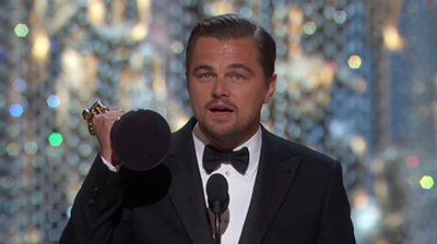 Leonardo DiCaprio Reciving his Oscar